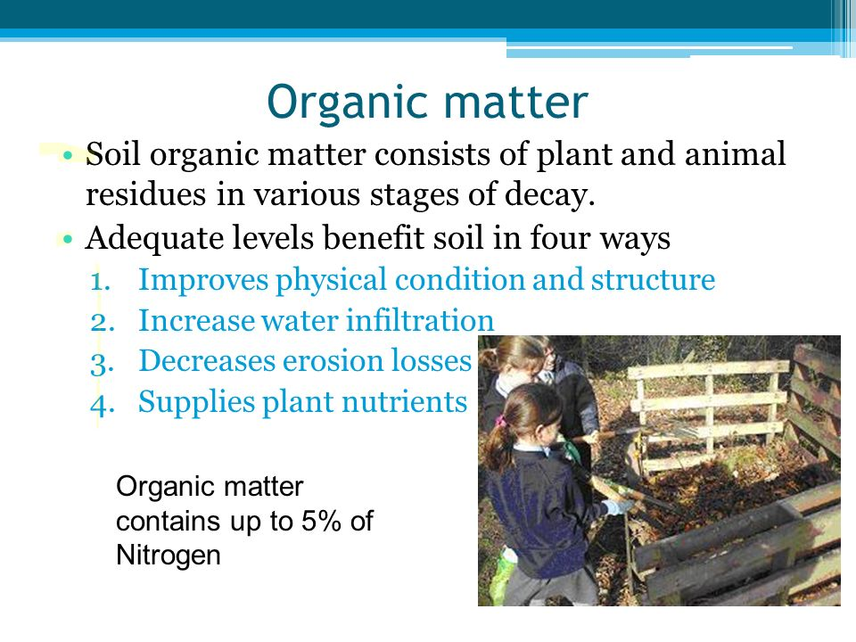 Organic matter Soil organic matter consists of plant and animal residues in various stages of decay.