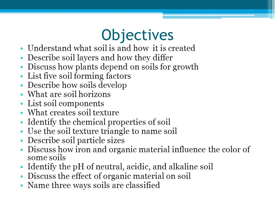Objectives Understand what soil is and how it is created