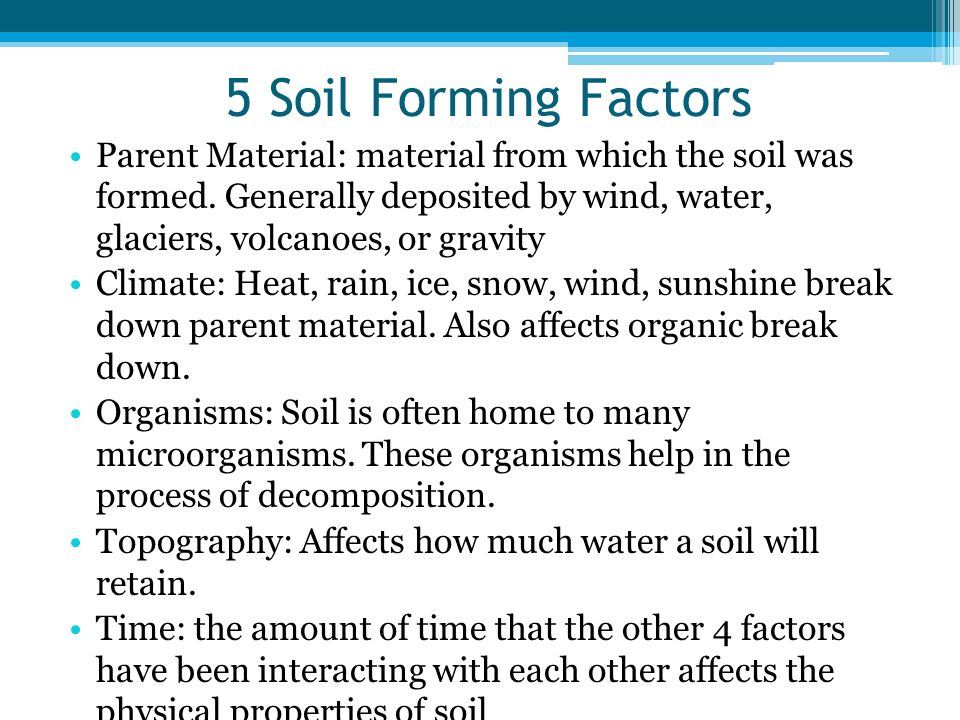 Unit 8 soils characteristics ppt download for Soil forming factors
