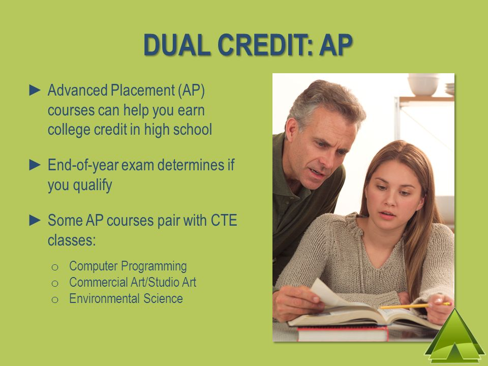 DUAL CREDIT: AP Advanced Placement (AP) courses can help you earn college credit in high school.