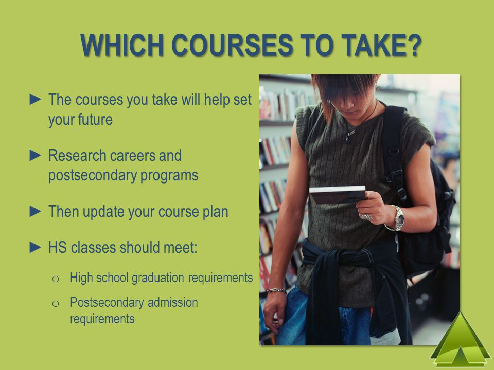 WHICH COURSES TO TAKE The courses you take will help set your future