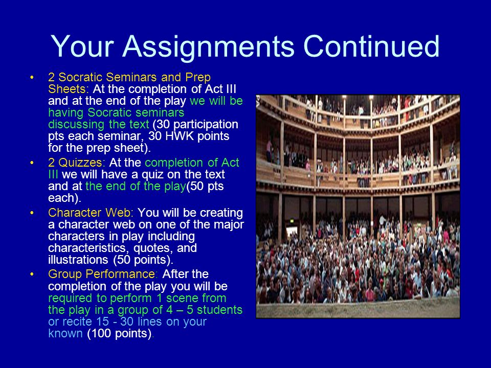 Your Assignments Continued