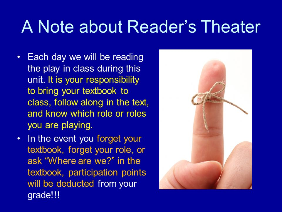 A Note about Reader's Theater