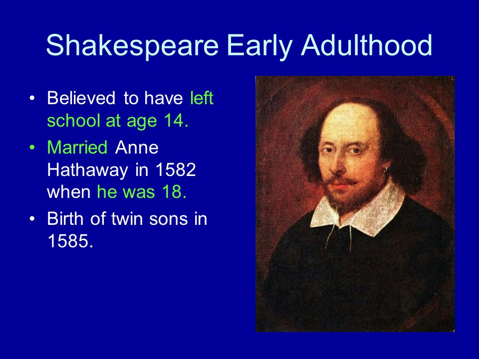 Shakespeare Early Adulthood