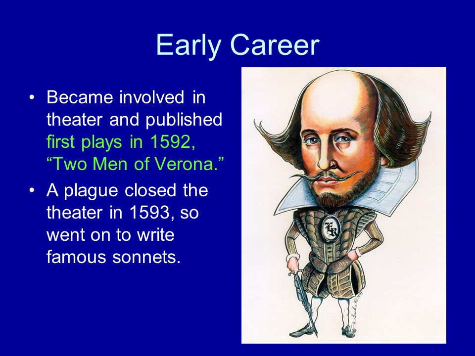 Early Career Became involved in theater and published first plays in 1592, Two Men of Verona.