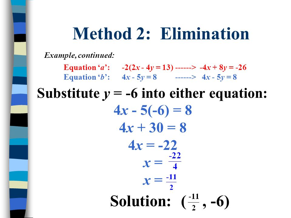 Method 2: Elimination Solution: ( , -6)