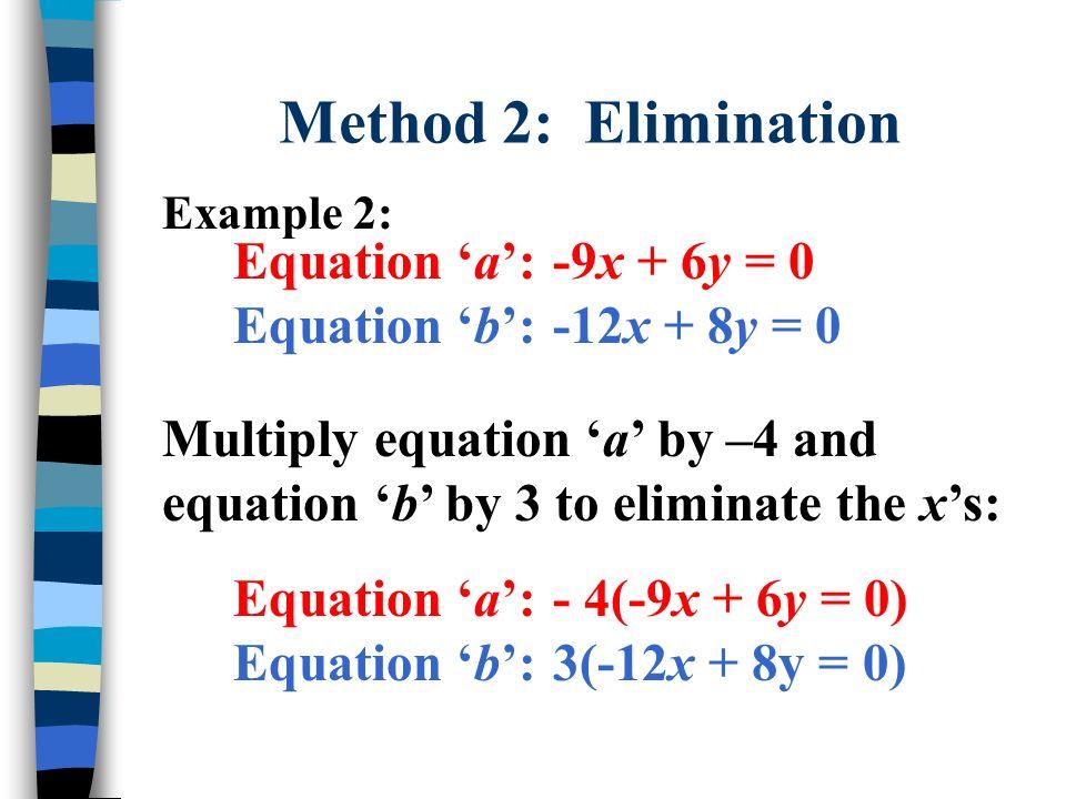 Method 2: Elimination Equation 'a': -9x + 6y = 0