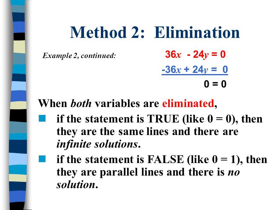 Method 2: Elimination 36x - 24y = 0
