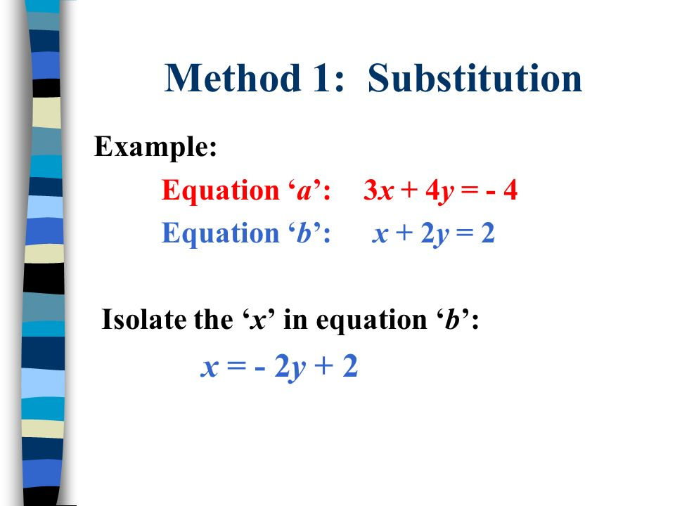 Method 1: Substitution Example: Equation 'a': 3x + 4y = - 4