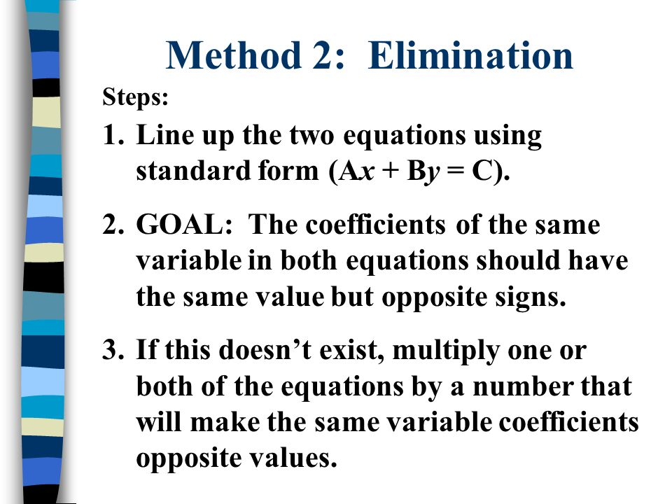 Method 2: Elimination Steps: Line up the two equations using standard form (Ax + By = C).