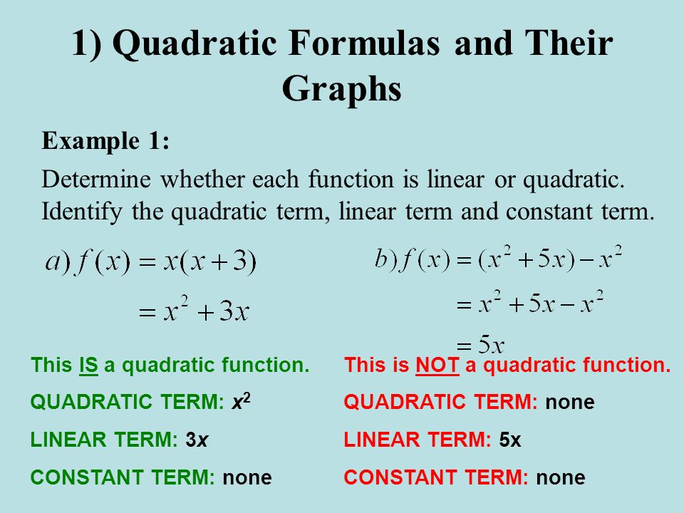 1) Quadratic Formulas and Their Graphs