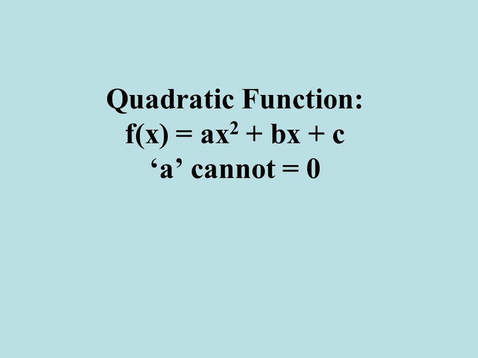 Quadratic Function: f(x) = ax2 + bx + c 'a' cannot = 0