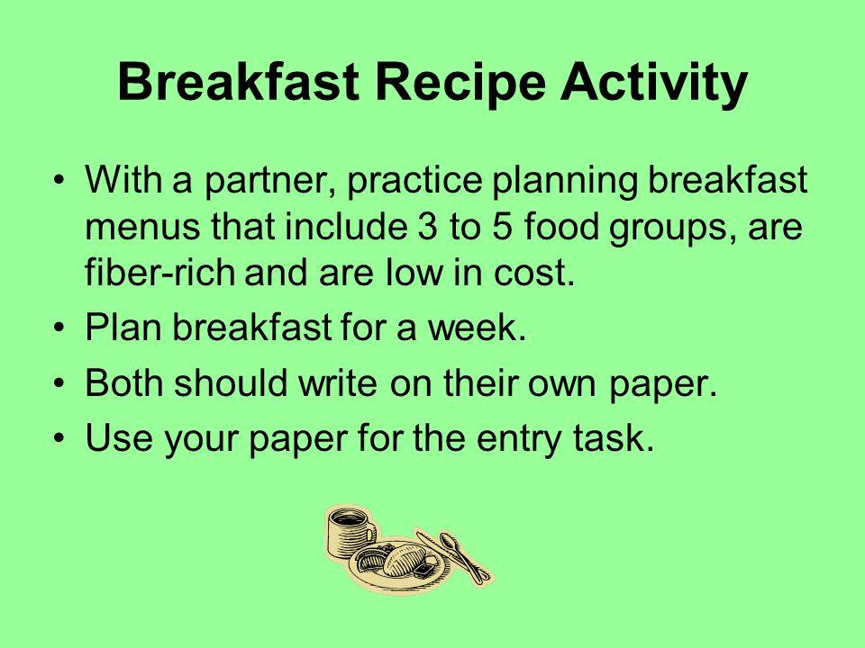Breakfast Recipe Activity