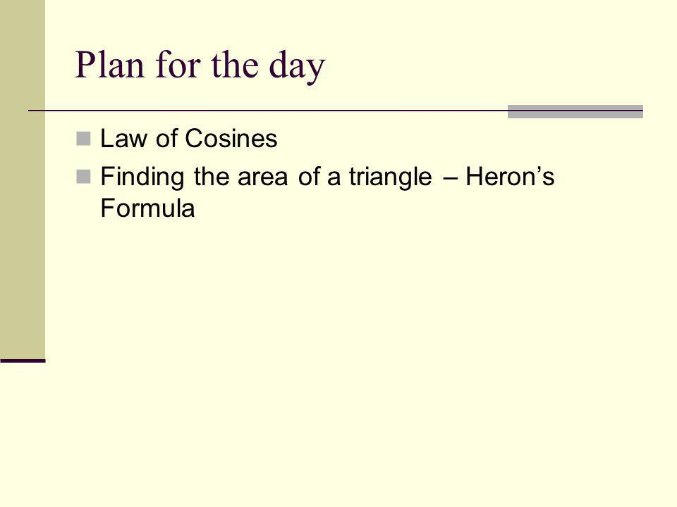 Plan for the day Law of Cosines