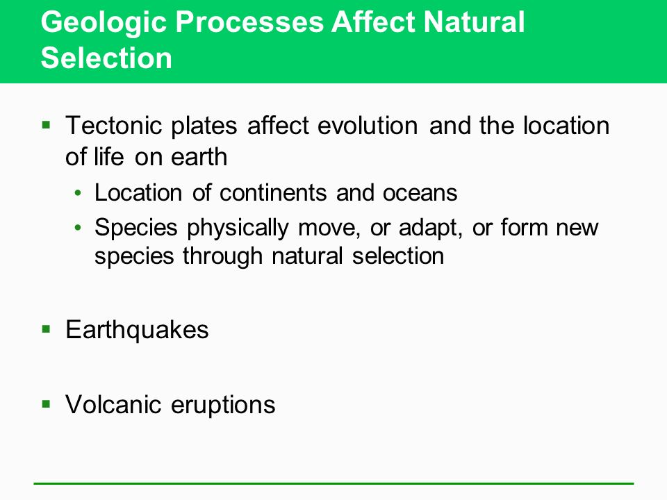 Geologic Processes Affect Natural Selection