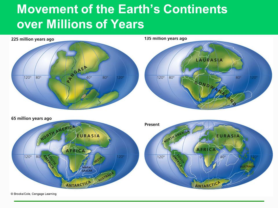 Movement of the Earth's Continents over Millions of Years