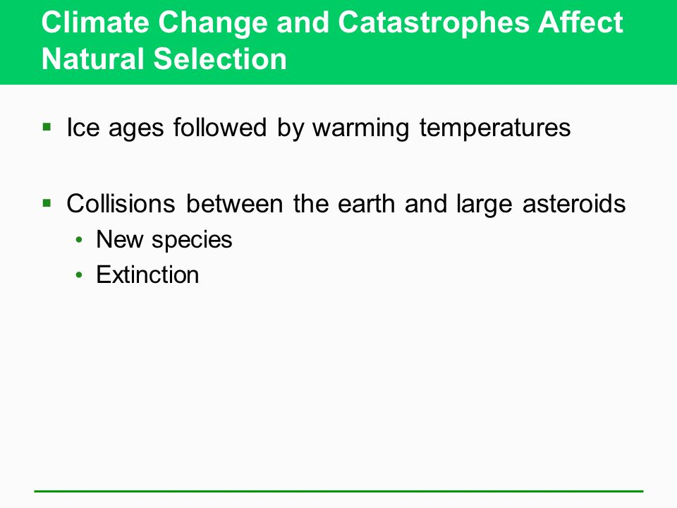 Climate Change and Catastrophes Affect Natural Selection