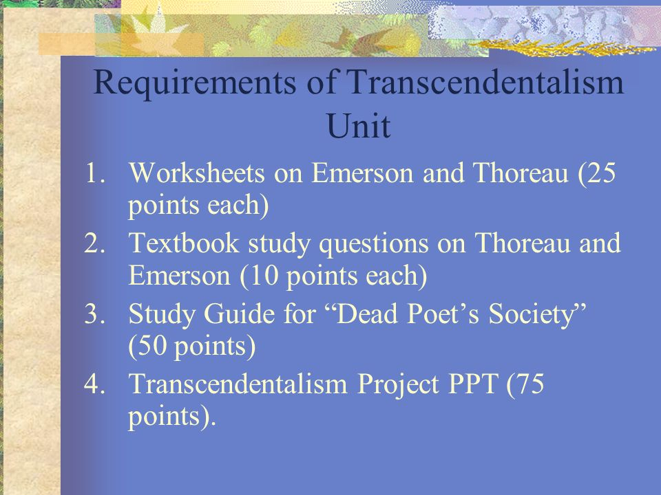 Requirements of Transcendentalism Unit