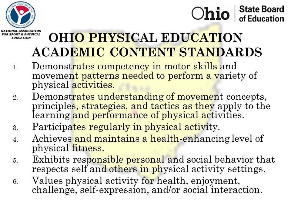 Ohio department of education physical education benchmark 4 ohio physical education saigontimesfo