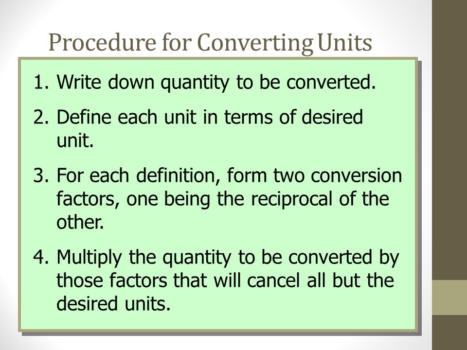 Procedure for Converting Units