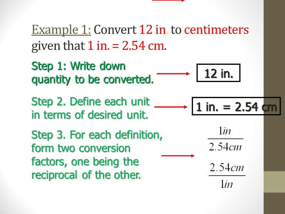 Example 1: Convert 12 in. to centimeters given that 1 in. = 2.54 cm.