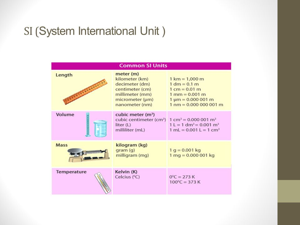 SI (System International Unit )