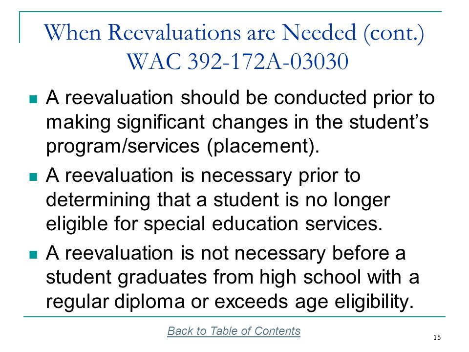 When Reevaluations are Needed (cont.) WAC 392-172A-03030
