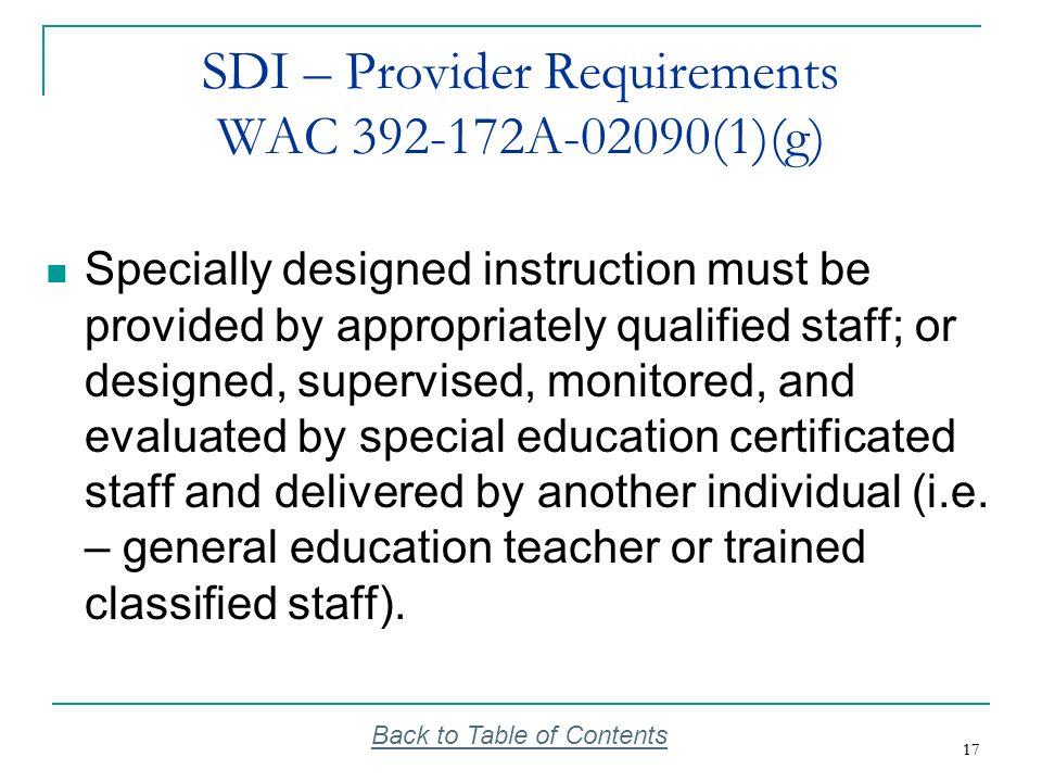 SDI – Provider Requirements WAC 392-172A-02090(1)(g)