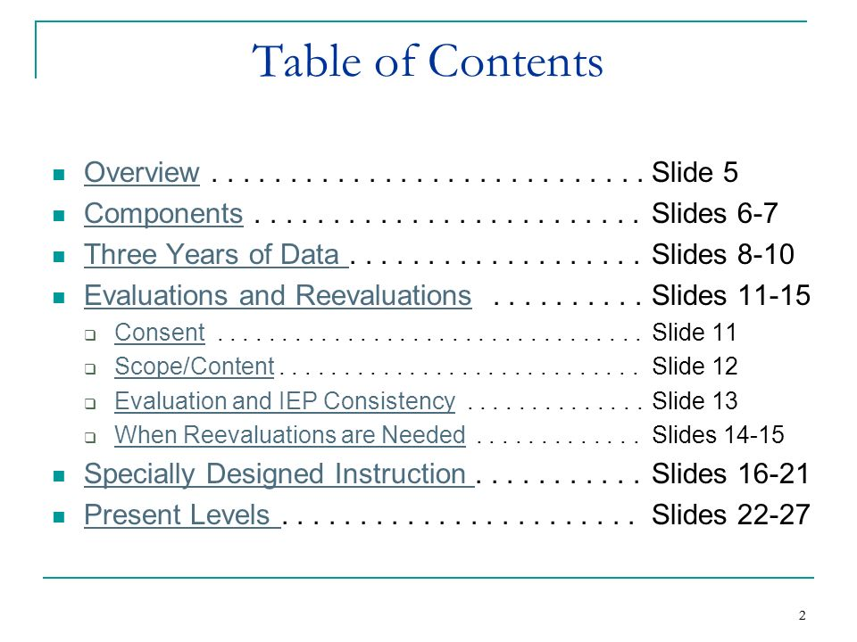 Table of Contents Overview . . . . . . . . . . . . . . . . . . . . . . . . . . . . Slide 5.
