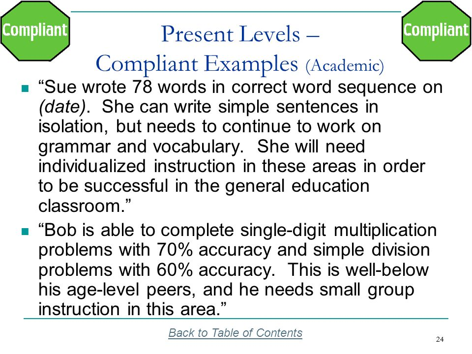 Present Levels – Compliant Examples (Academic)