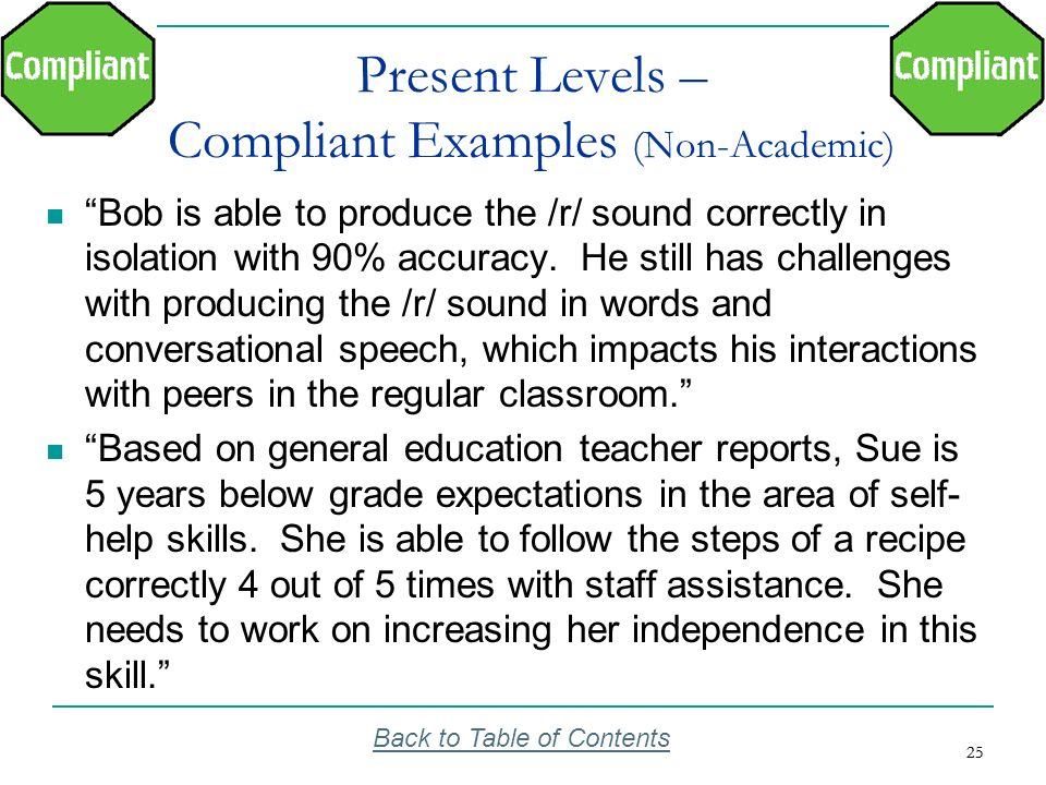 Present Levels – Compliant Examples (Non-Academic)