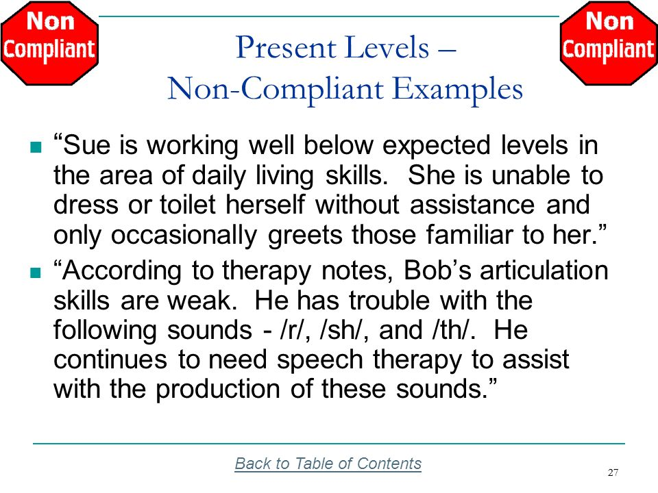 Present Levels – Non-Compliant Examples