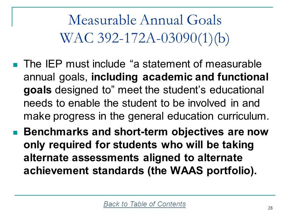 Measurable Annual Goals WAC 392-172A-03090(1)(b)