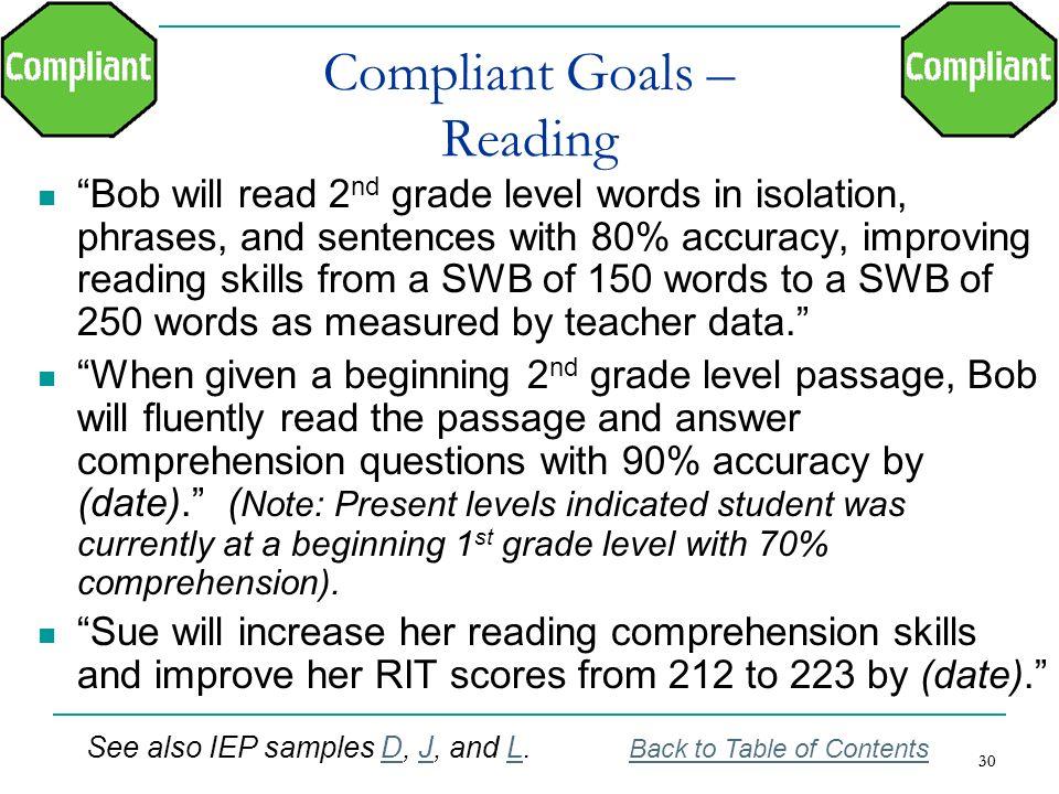 Compliant Goals – Reading