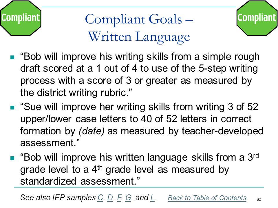 Compliant Goals – Written Language
