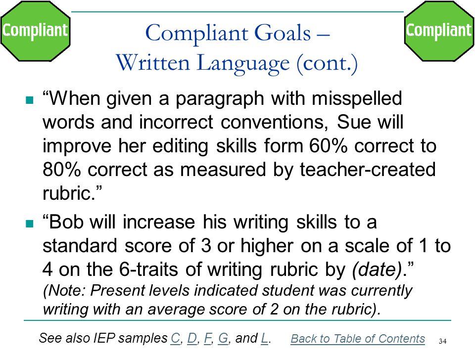 Compliant Goals – Written Language (cont.)