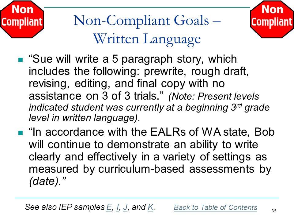 Non-Compliant Goals – Written Language