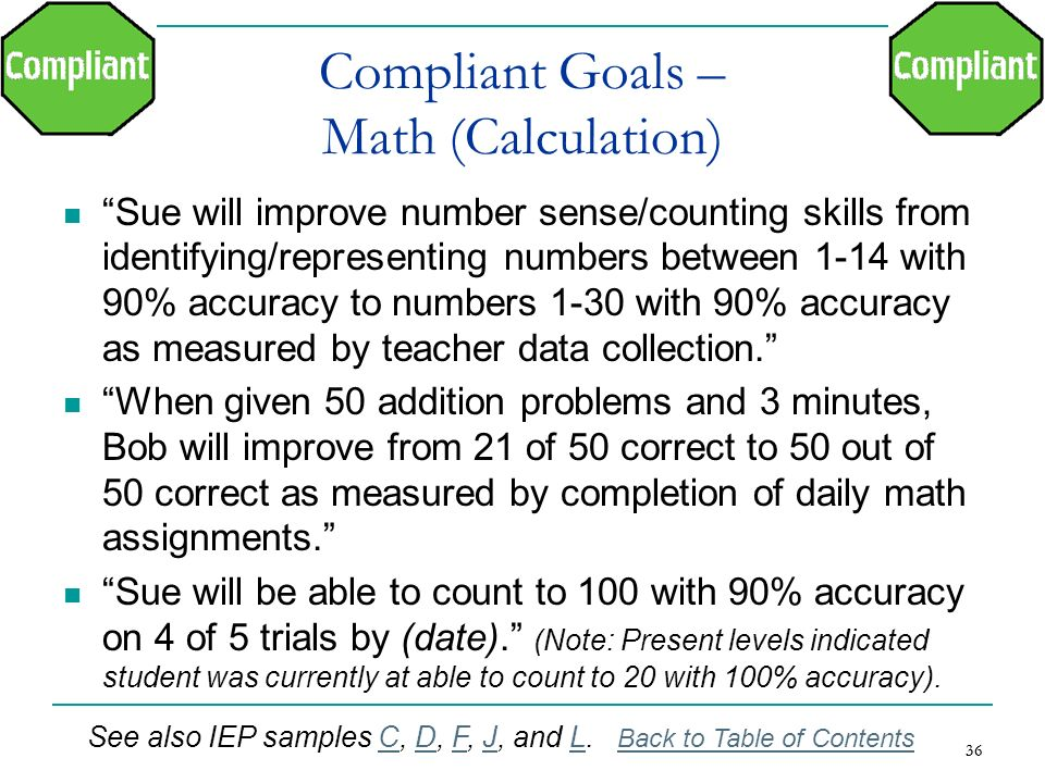 Compliant Goals – Math (Calculation)