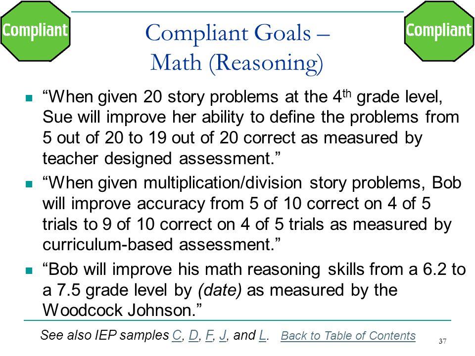 Compliant Goals – Math (Reasoning)