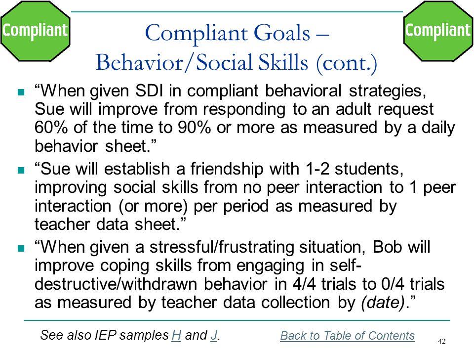 Compliant Goals – Behavior/Social Skills (cont.)
