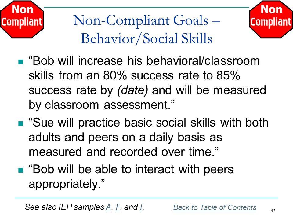 Non-Compliant Goals – Behavior/Social Skills