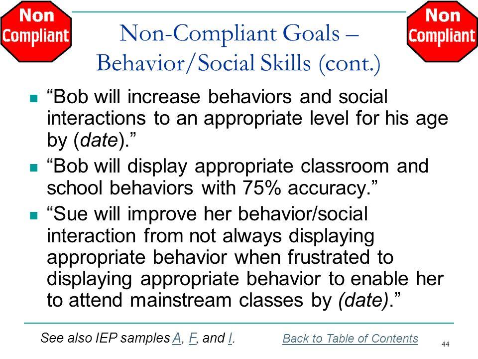 Non-Compliant Goals – Behavior/Social Skills (cont.)