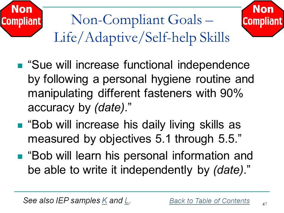 Non-Compliant Goals – Life/Adaptive/Self-help Skills
