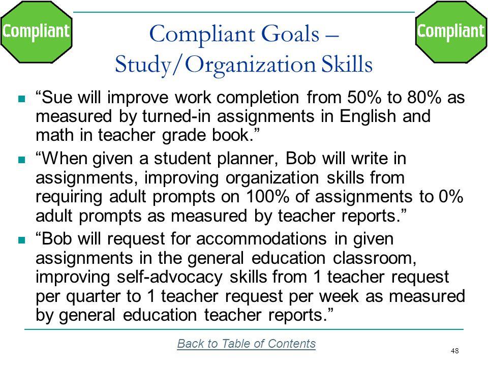 Compliant Goals – Study/Organization Skills