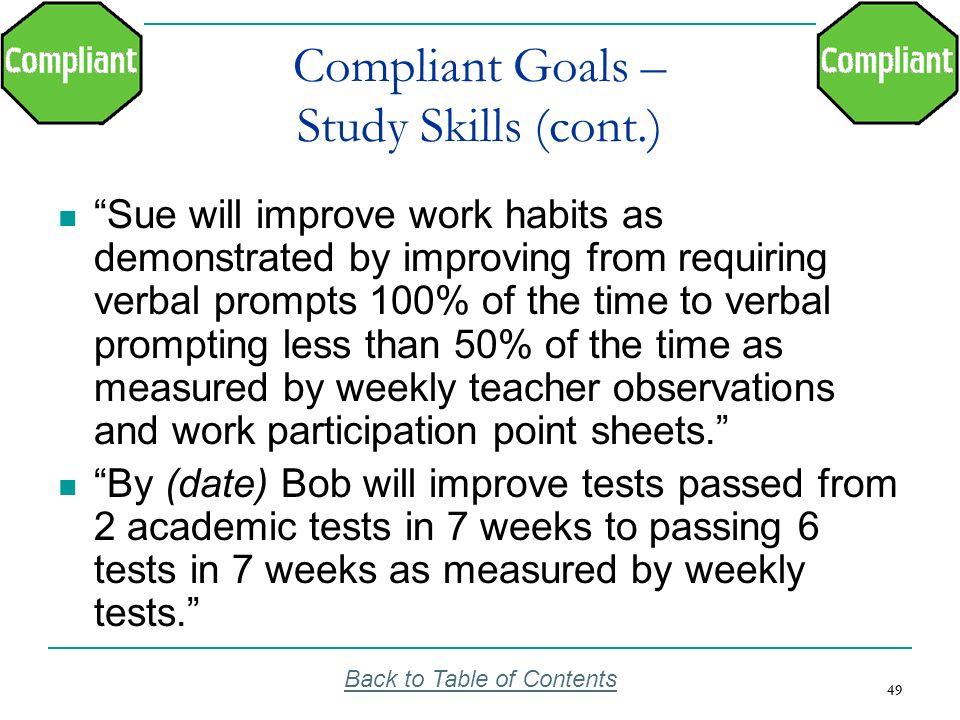 Compliant Goals – Study Skills (cont.)