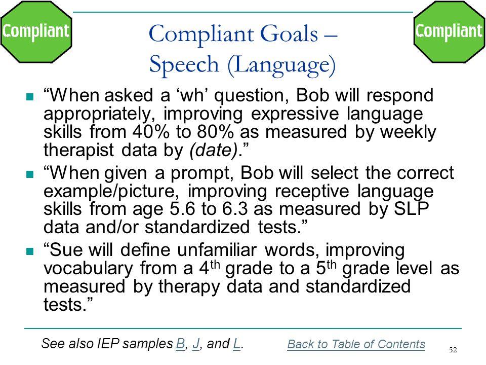 Compliant Goals – Speech (Language)
