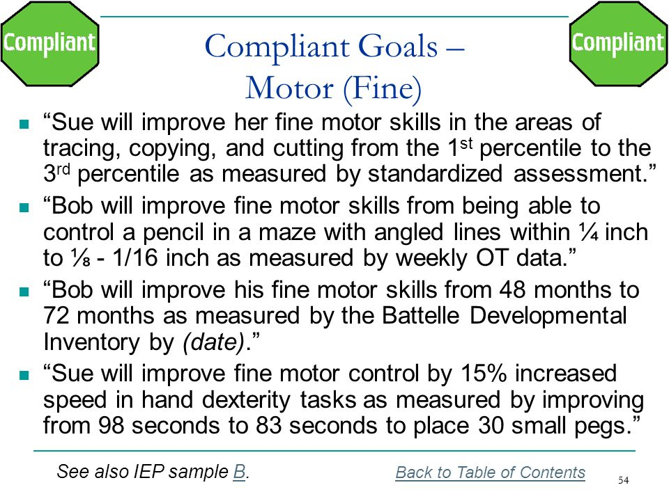 Compliant Goals – Motor (Fine)