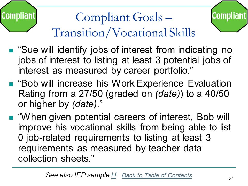 Compliant Goals – Transition/Vocational Skills