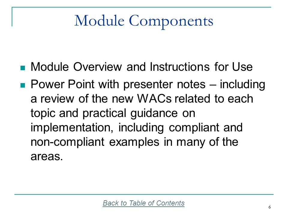 Module Components Module Overview and Instructions for Use