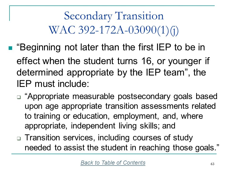 Secondary Transition WAC 392-172A-03090(1)(j)